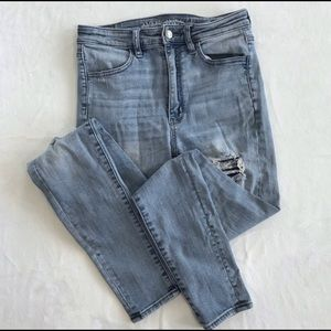 American Eagle super high rise distressed jeans